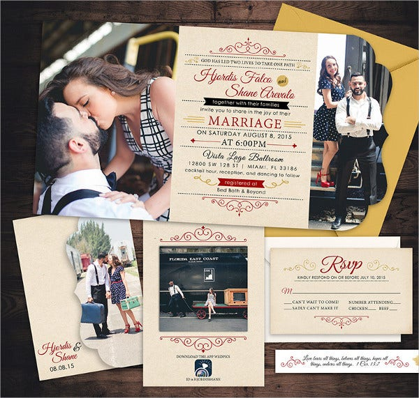 Retro Photo Wedding Invitations