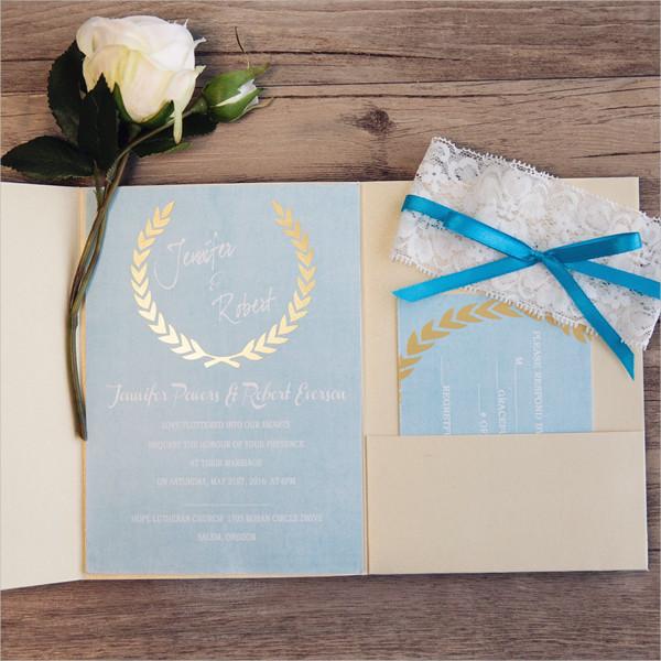 Lace Pocket Wedding Invitations