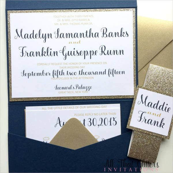 Handmade Glitter Wedding Invitations