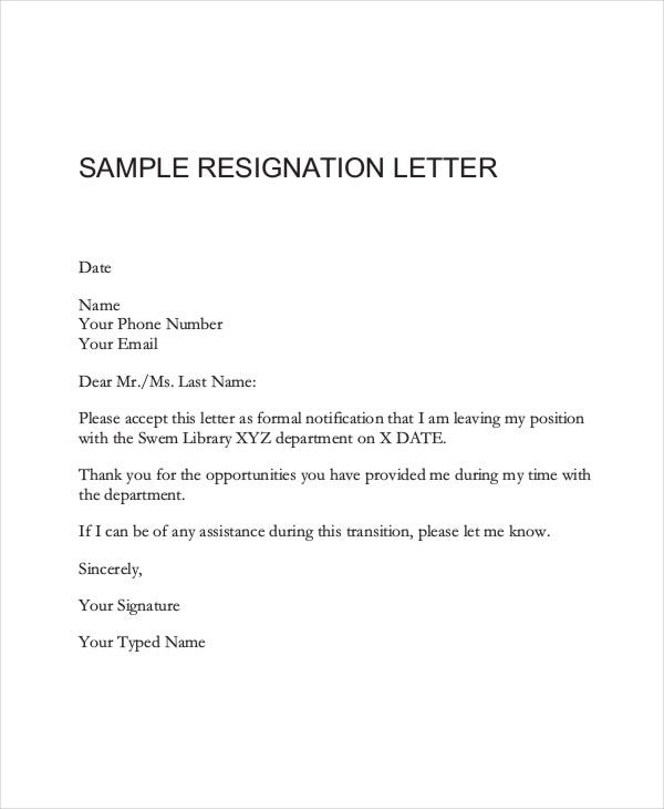 Formal Resignation Letter Sample | Medicalassistant.Us