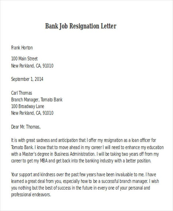 bank job resignation letter format