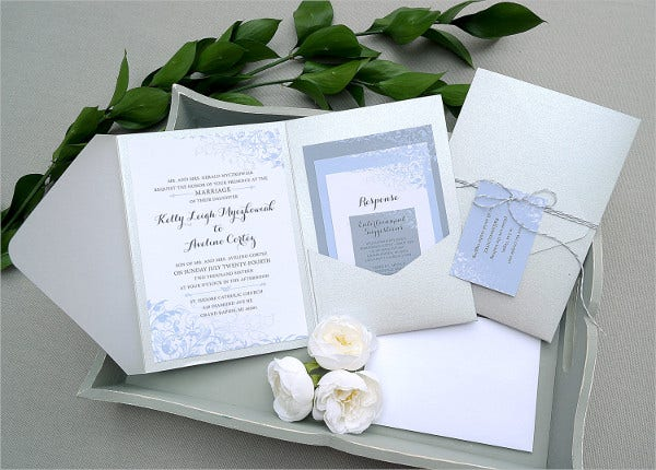 Tri Fold Pocket Wedding Invitations