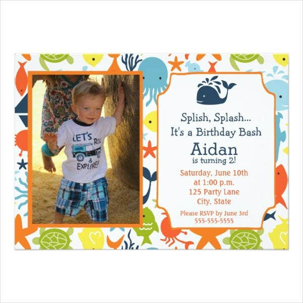 nautical photo birthday invitation