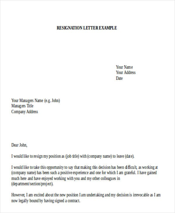 email resignation letter format to hr