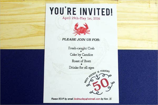 nautical birthday invitation card