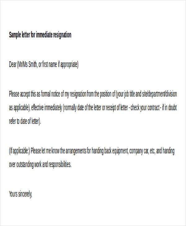 sample letter for immediate resignation format