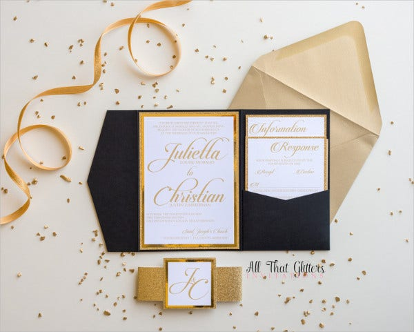 Handmade Pocket Wedding Invitations