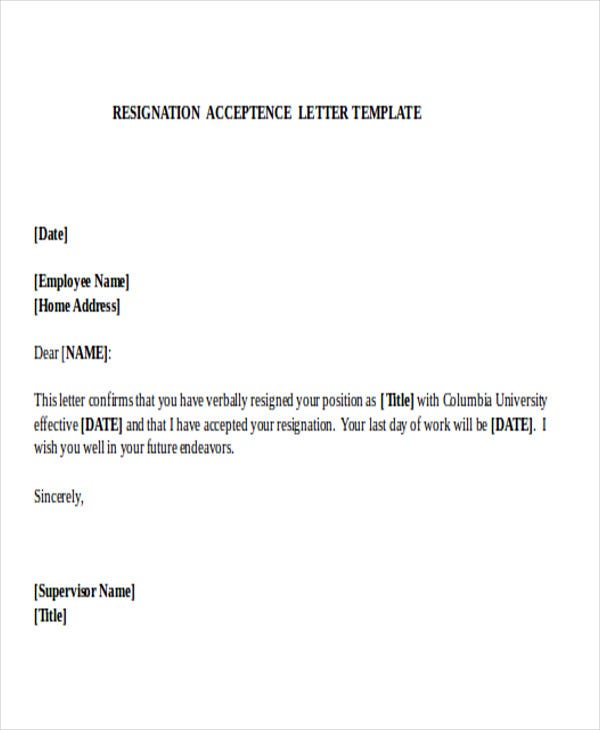 format of acceptance of resignation letter Sample letter of manager acceptance of employee letter of resignation date name of employee department dear , this letter is to acknowledge.