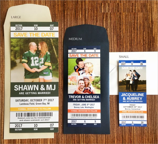 Sports Ticket Wedding Invitations