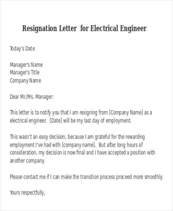 sample letters of resignation from a job
