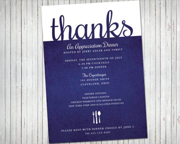 formal appreciation dinner invitation
