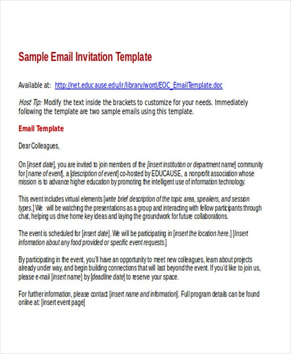 Business Email Template Sample Business Email Invitation Template