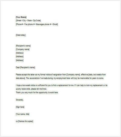 employee email resignation letter free word format download