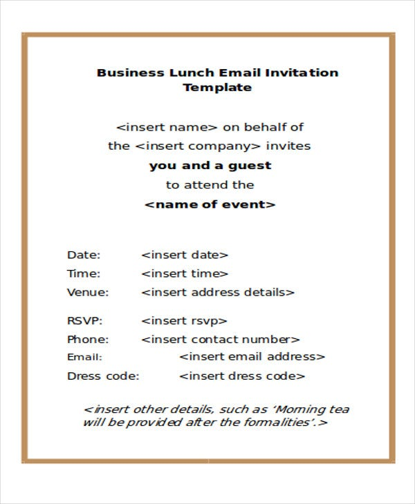 Business Lunch E Mail Invitation Template  Corporate Invitation Template