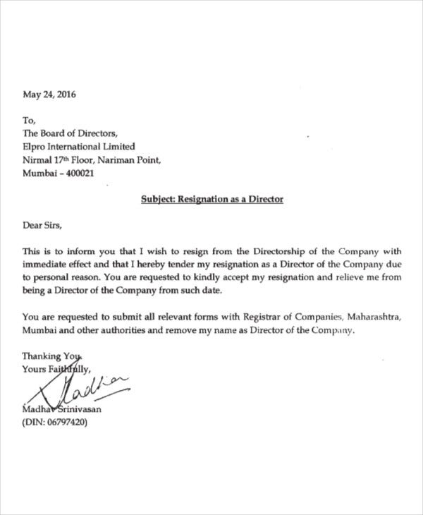 Immediate Resignation Letter Due To Personal Reasons