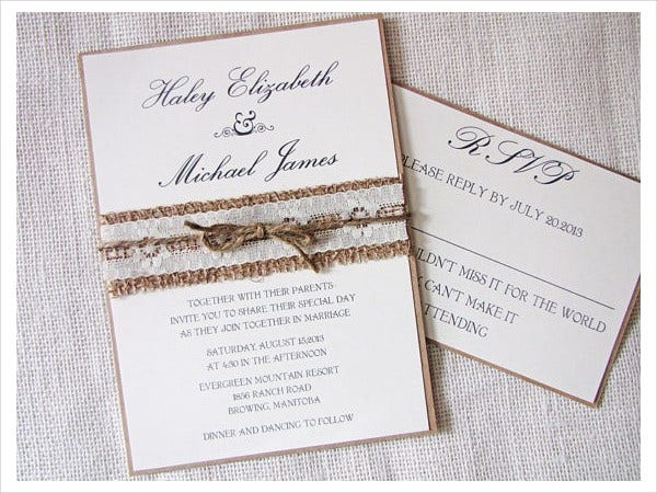Handmade Burlap Wedding Invitations