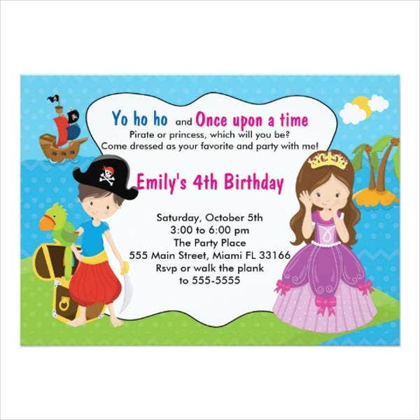 pirate and princess birthday invitation1