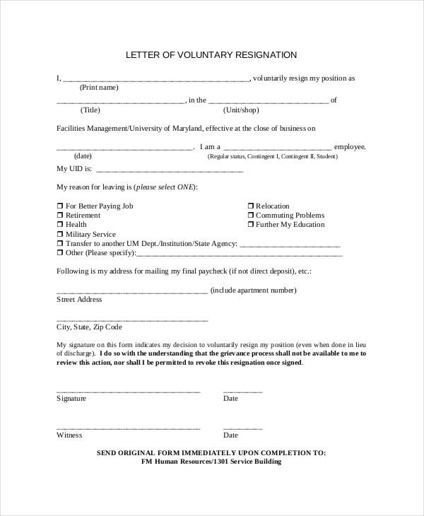 voluntary resignation letter to employer