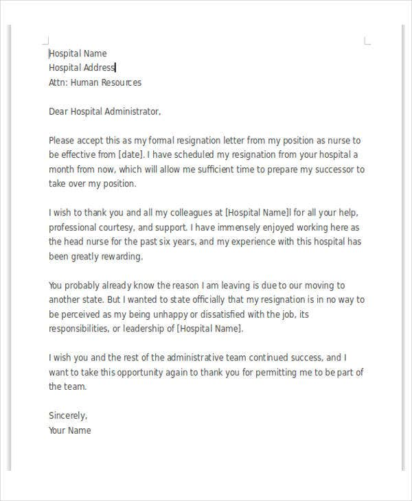 sample-of-Resignation-Letter-for-Staff-Nurse-Template Teacher Resignation Letter Template Uk on 2 week notice, for school aide, free printable company,