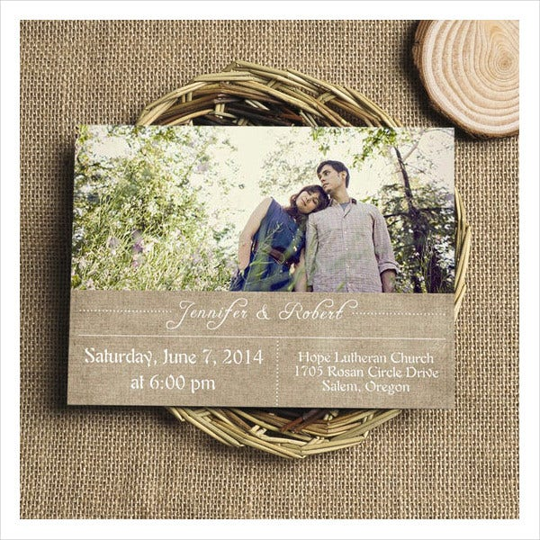 Burlap Photo Wedding Invitations