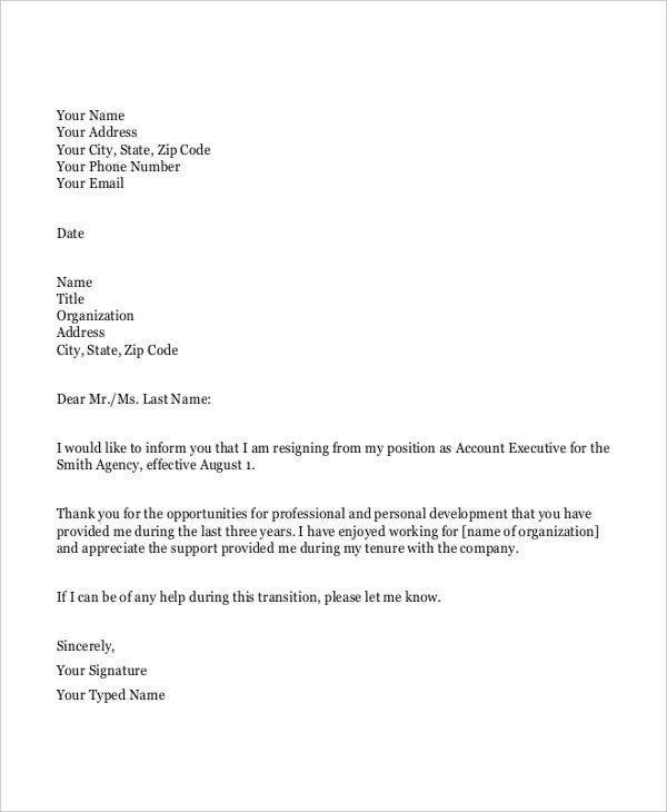 Simple Resignation Letters  Free  Premium Templates