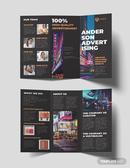 advertising agency tri fold brochure template