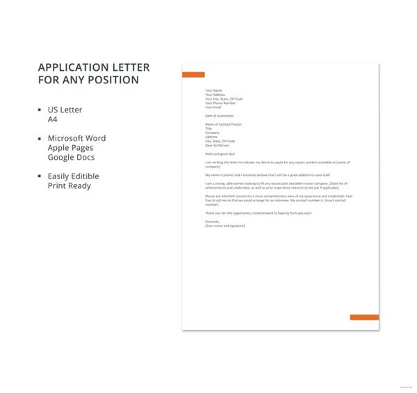 application letter for any position template