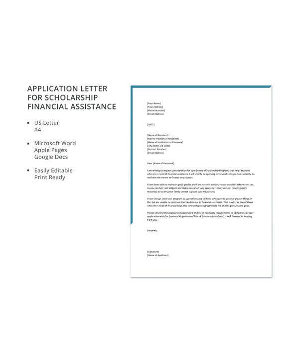 11 scholarship application letter templates pdf doc free