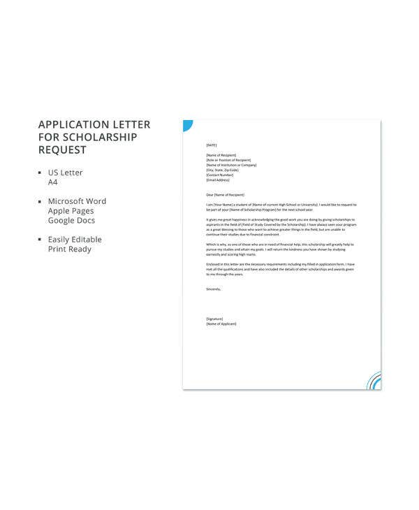 application letter for scholarship request