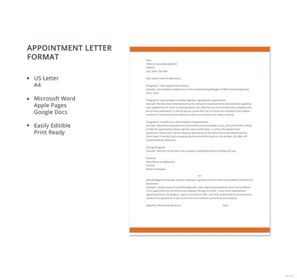 appointment letter format1