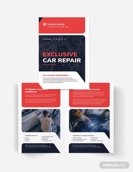 auto repair service bi fold brochure template