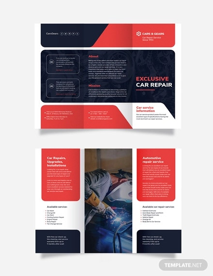 auto repair service tri fold brochure template