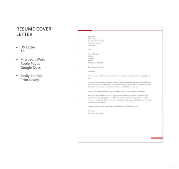banking resume cover letter template for freshers