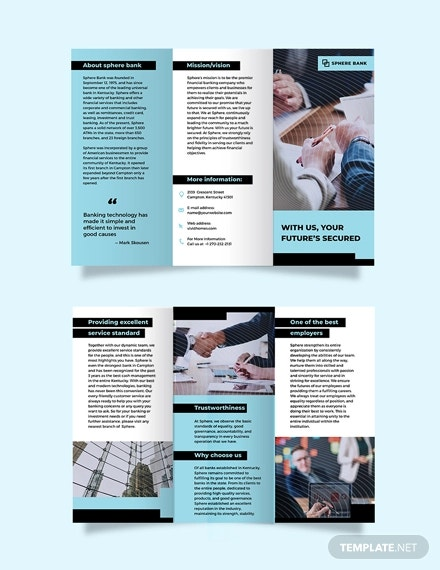banking service tri fold brochure template
