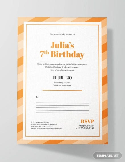 26 Postcard Birthday Invitation Templates PSD Word