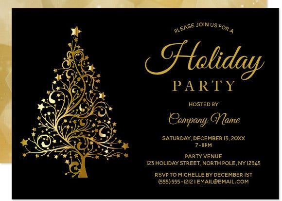 black gold tree corporate holiday party invitation