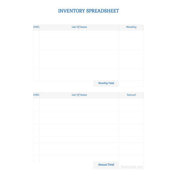 blank inventory spreadsheet template