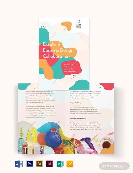 business event bi fold brochure template