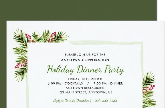 business holiday dinner party invitation1