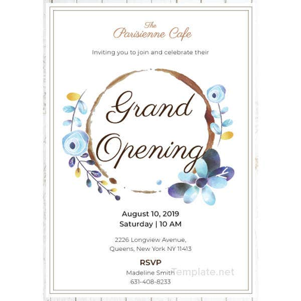 cafe opening ceremony invitation template