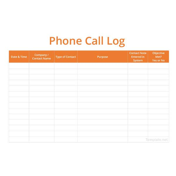 call log template