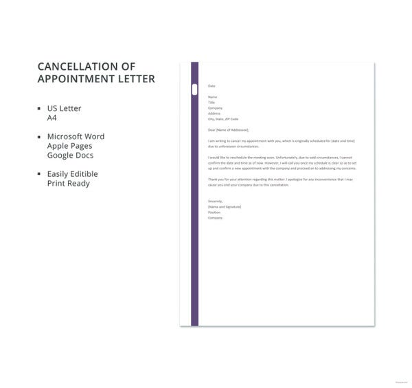cancellation of appointment letter template