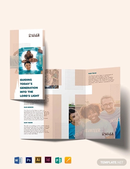 church fundraiser tri fold brochure template
