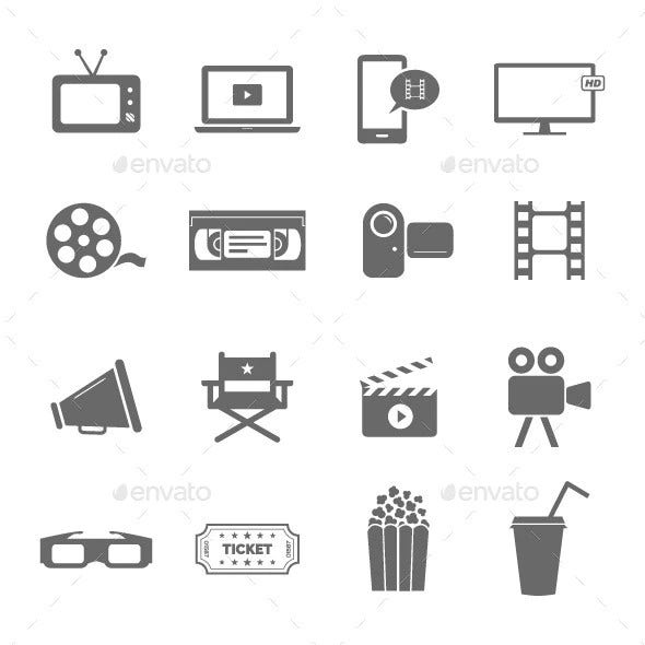 cinema and film industry icon set