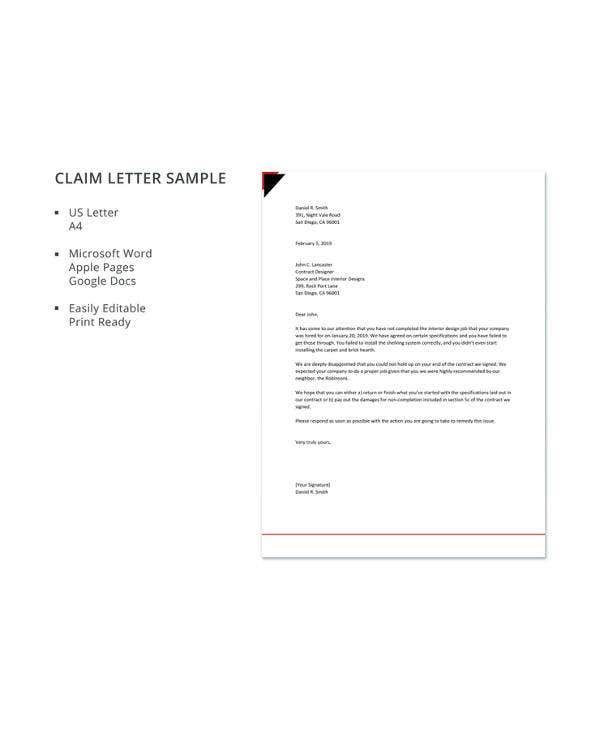 Sample Of Claim Letter from images.template.net
