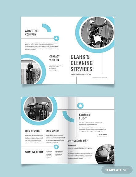 cleaning company bi fold brochure template