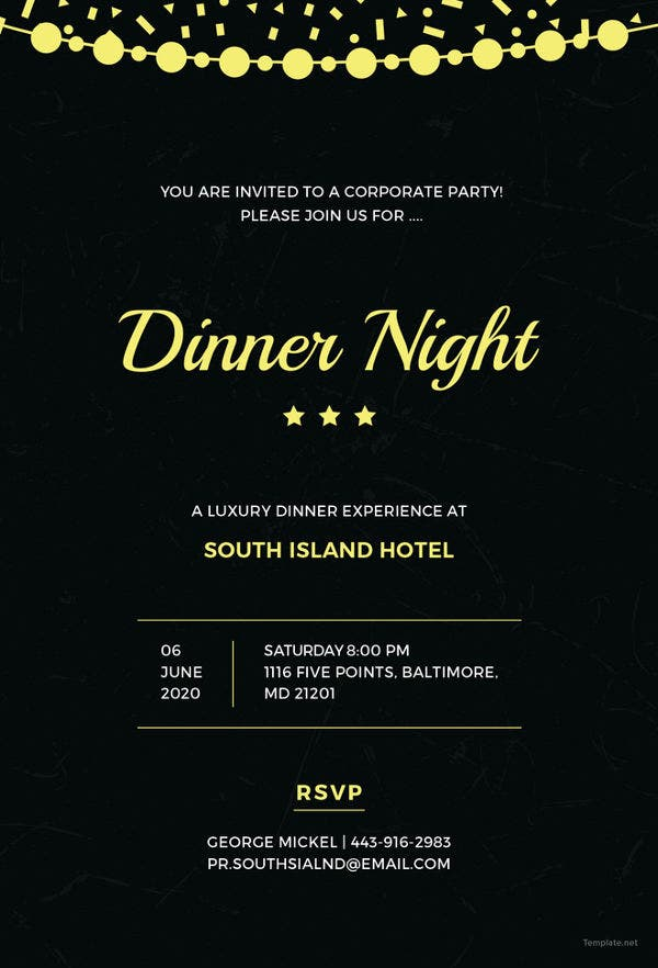 Office Party Dinner Invitations Templates