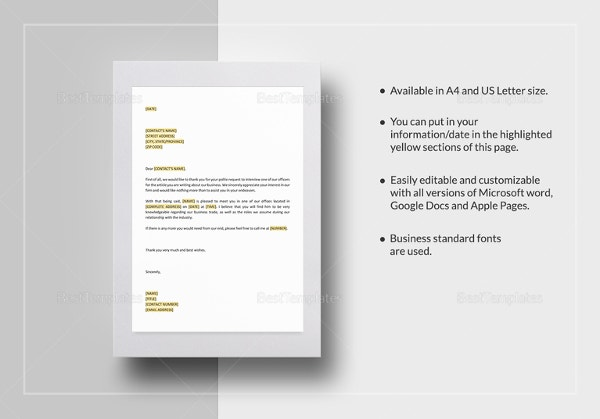 interview letter templates 7 free word pdf documents download free premium templates. Black Bedroom Furniture Sets. Home Design Ideas