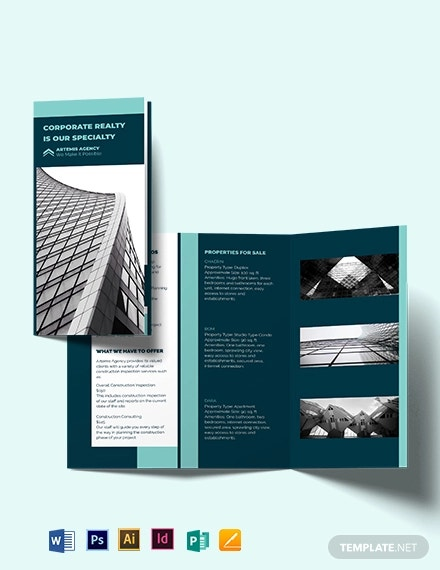 construction inspector tri fold brochure template