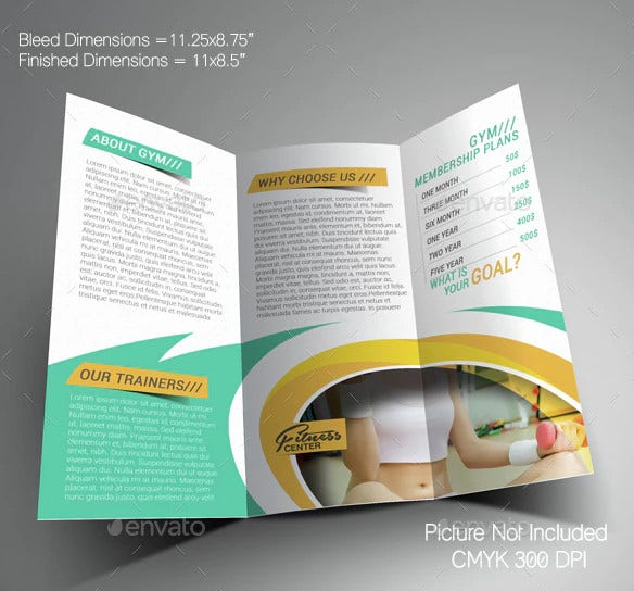 corporate fitness yoga center trifold brochure template1